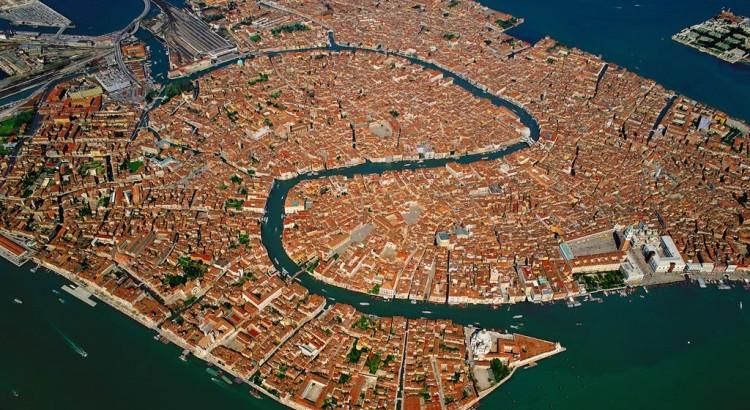 Letecký pohled na Benátky