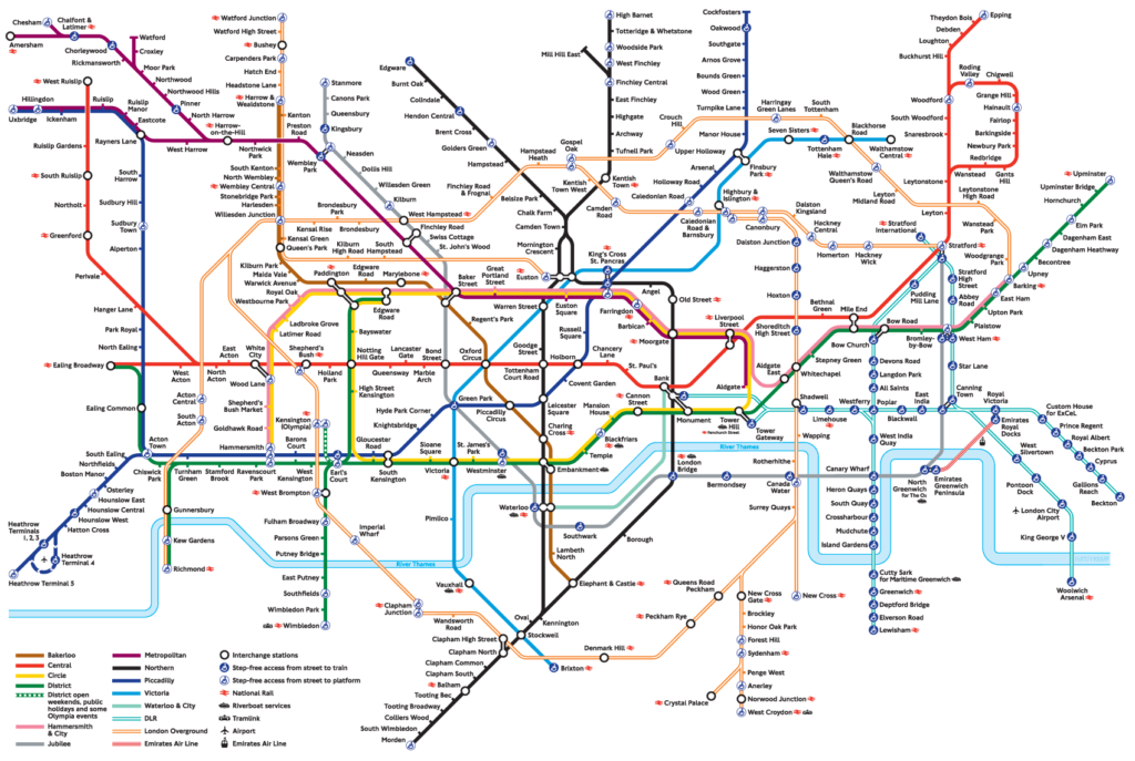 mapa metra londyn